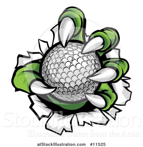 Vector Illustration of a Green Monster Claws Ripping Through Metal with a Golf Ball