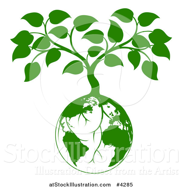 Vector Illustration of a Green Planet Earth Globe and Tree with Roots Growing from It