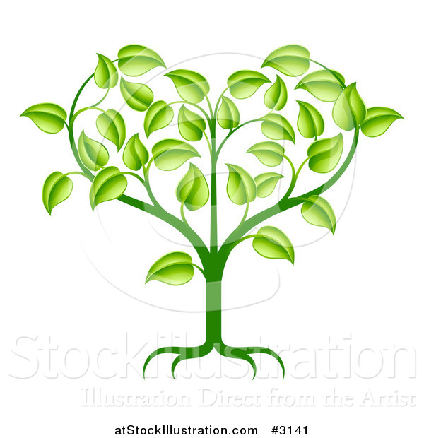 Vector Illustration of a Green Seedling Plant with Foliage Forming a Heart