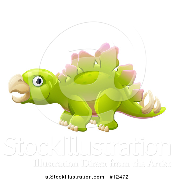 Vector Illustration of a Green Stegosaur Dinosaur