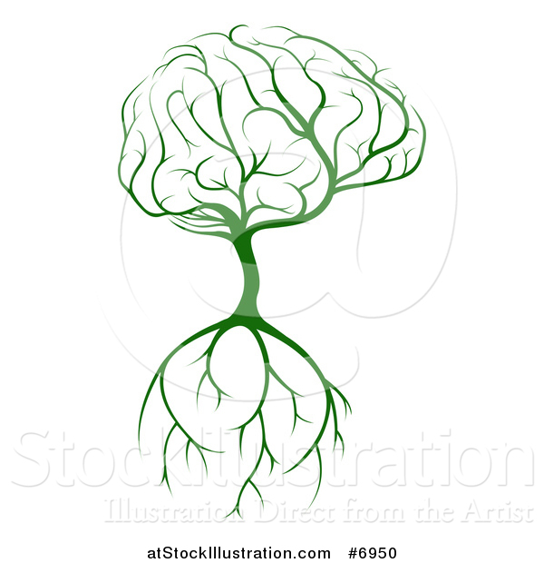 Vector Illustration of a Green Tree with a Big Brain Canopy and Roots