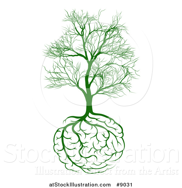 Vector Illustration of a Green Tree with Brain Roots and Bare Branches, Symbolizing Memory Loss