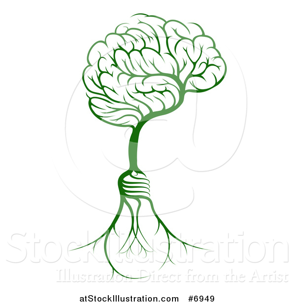 Vector Illustration of a Green Tree with Electric Light Bulb Roots and a Brain Canopy