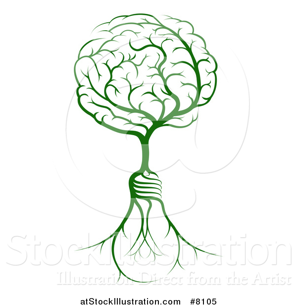 Vector Illustration of a Green Tree with Light Bulb Roots and a Brain Canopy
