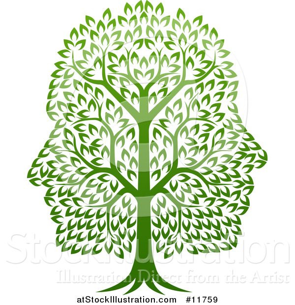 Vector Illustration of a Green Tree with Profiled Faces in the Canopy