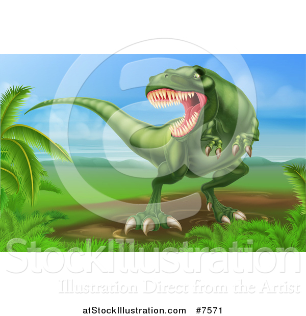 Vector Illustration of a Green Vicious Tyrannosaurus Rex Dinosaur Roaring in a Landscape