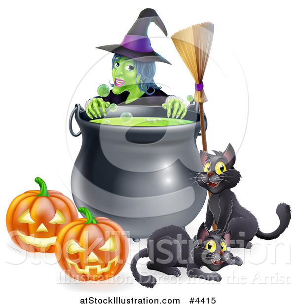 Vector Illustration of a Green Witch over a Cauldron with Black Cats a Broomstick and Jackolanterns