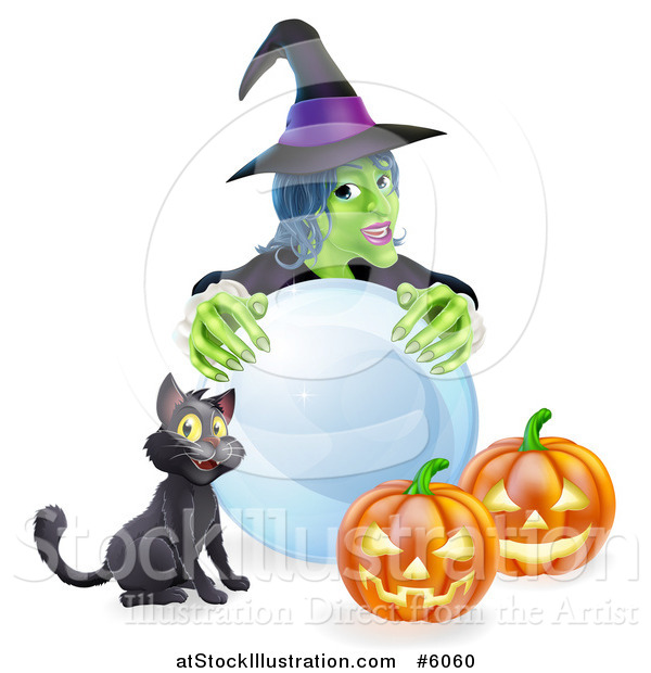 Vector Illustration of a Green Witch with a Crystal Ball, Black Cat and Halloween Jackolantern Pumpkins
