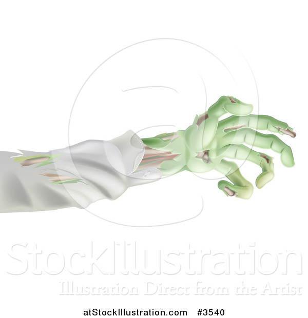 Vector Illustration of a Green Zombie Arm
