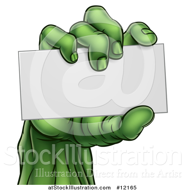 Vector Illustration of a Green Zombie Hand Holding a Blank Business Card