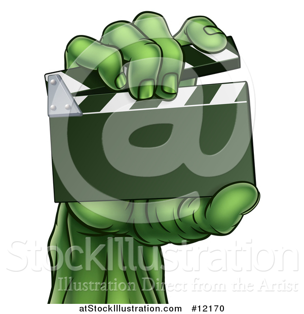 Vector Illustration of a Green Zombie Hand Holding a Clapperboard
