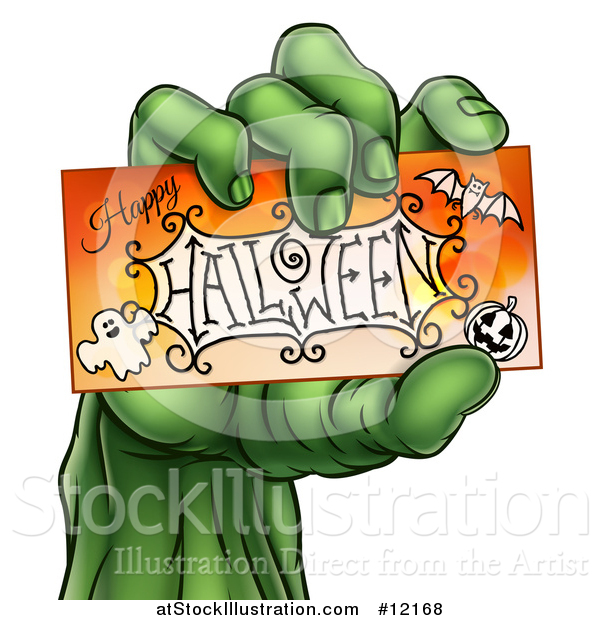 Vector Illustration of a Green Zombie Hand Holding a Happy Halloween Card