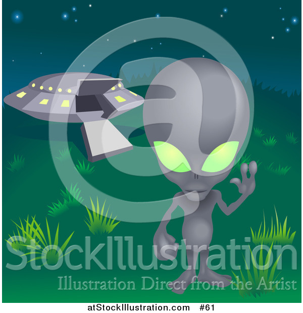 Vector Illustration of a Grey Alien with Green Eyes, Waving Hand While Standing near a UFO