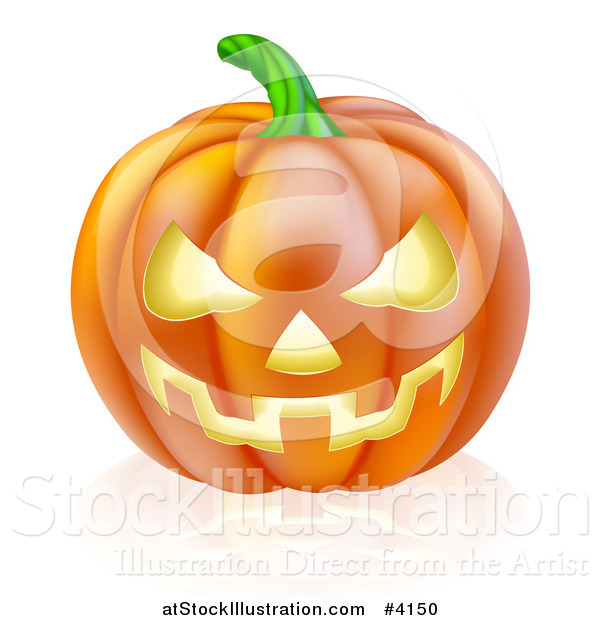 Vector Illustration of a Grinning Carved Halloween Jack O Lantern Pumpkin and Reflection