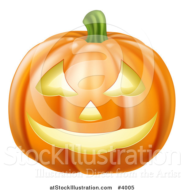 Vector Illustration of a Grinning Carved Halloween Pumpkin