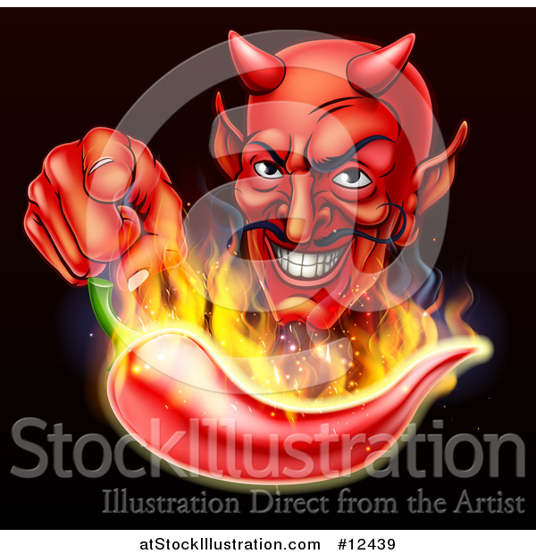 Vector Illustration of a Grinning Devil Pointing over a Flaming Hot Chili Pepper on Black