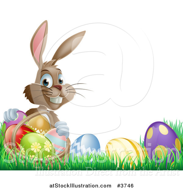 Vector Illustration of a Grinning Easter Bunny with Eggs and a Basket in Grass