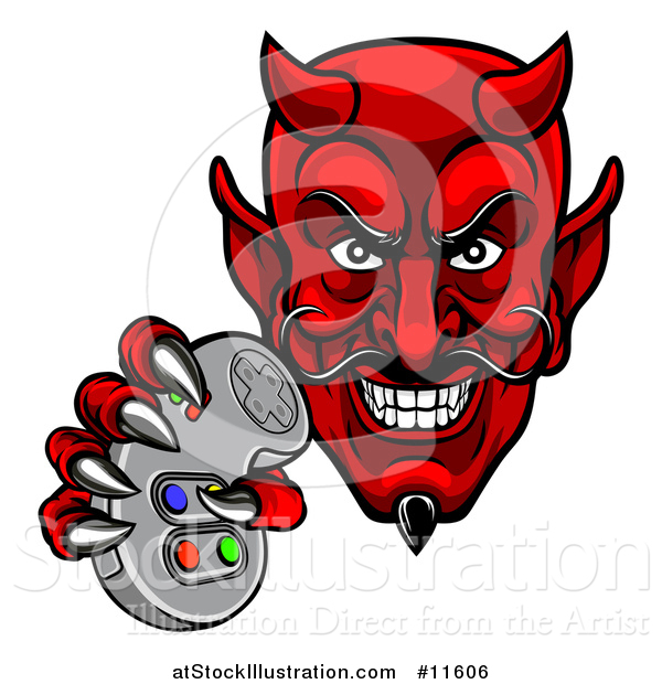 Vector Illustration of a Grinning Evil Red Devil Holding a Video Game Controller