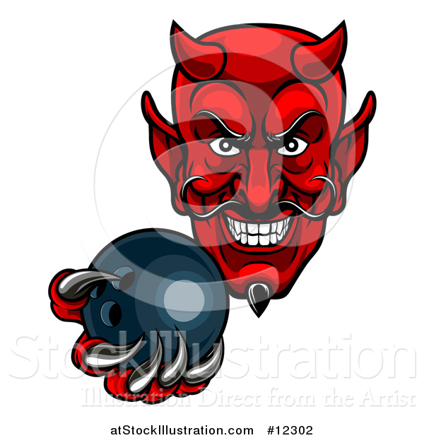 Vector Illustration of a Grinning Evil Red Devil Holding out a Bowling Ball in a Clawed Hand