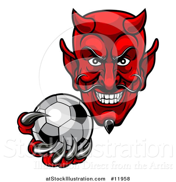 Vector Illustration of a Grinning Evil Red Devil Holding out a Soccer Ball in a Clawed Hand