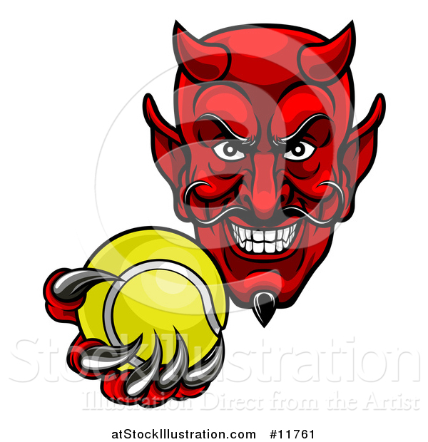 Vector Illustration of a Grinning Evil Red Devil Holding out a Tennis Ball in a Clawed Hand