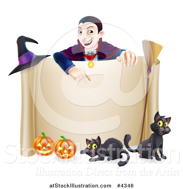 Vector Illustration of a Grinning Vampire Pointing down to a Halloween Scroll Sign with Black Cats Broomstick Witch Hat and Pumpkins