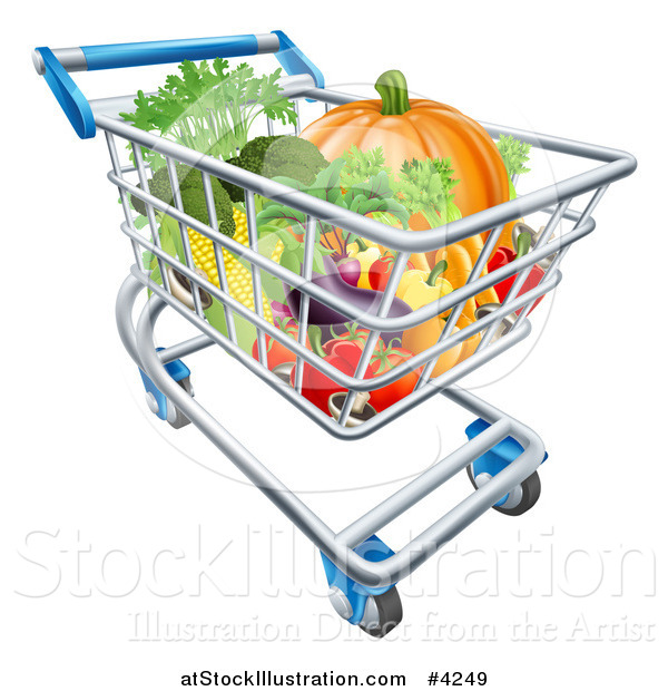 Vector Illustration of a Grocery Store Shopping Cart Full of Vegetables