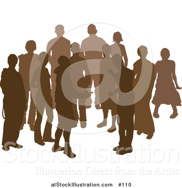 Vector Illustration of a Group of Silhouetted Brown People