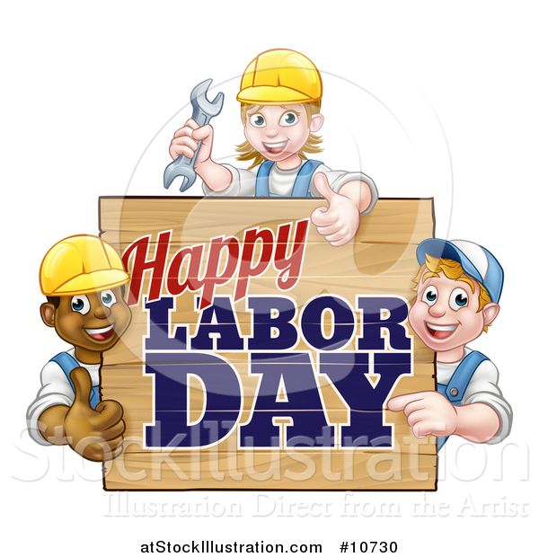 Vector Illustration of a Group of Workers Around a Happy Labor Day Sign