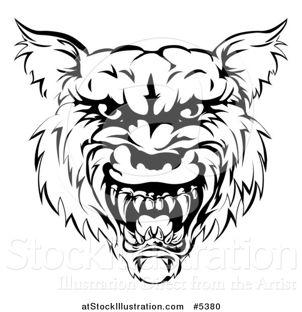 Vector Illustration of a Growling Black and White Vicious Wolf Face