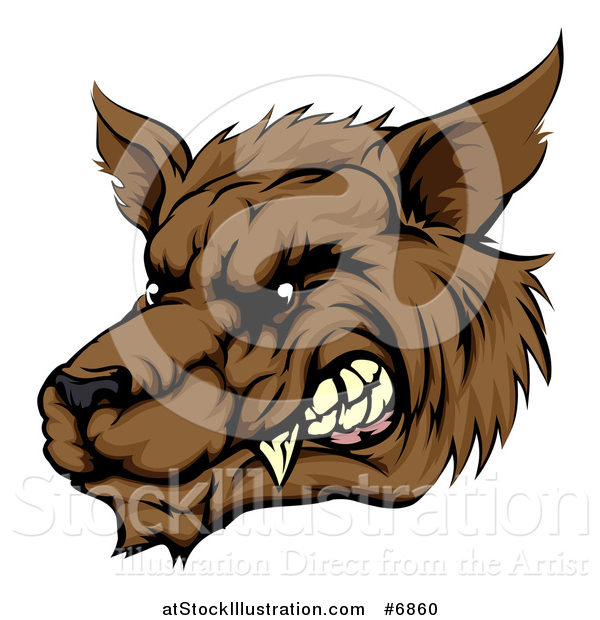 Vector Illustration of a Growling Brown Wolf Head