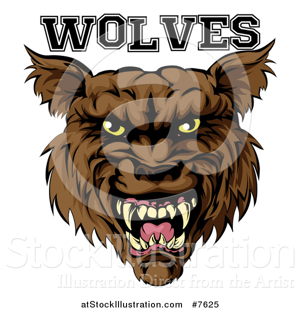 Vector Illustration of a Growling Brown Wolf Mascot Head and Text