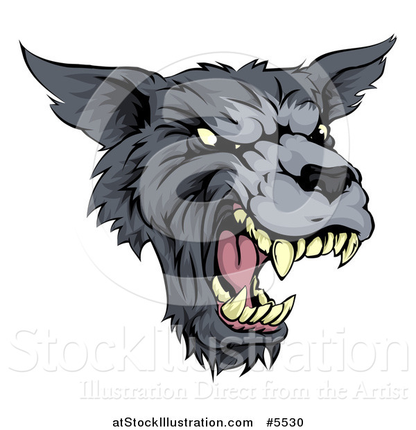 Vector Illustration of a Growling Fierce Wolf Mascot Head