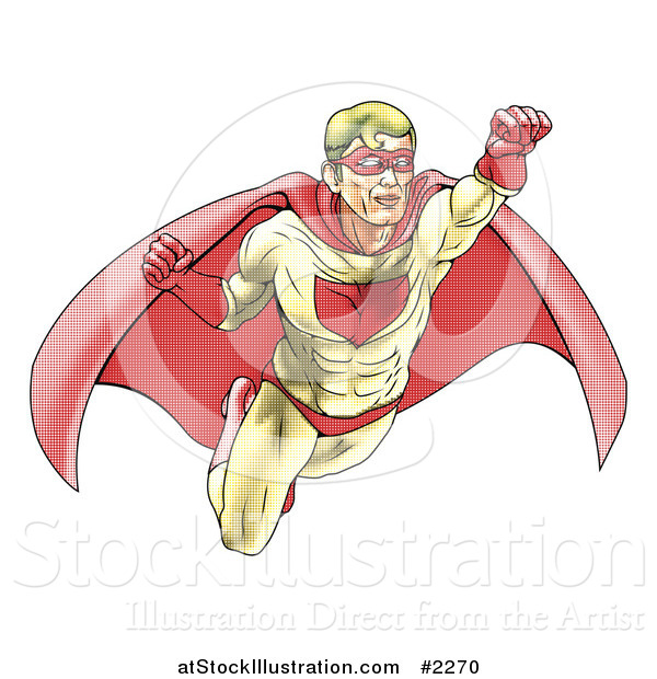 Vector Illustration of a Halftone Dotted Super Hero Flying