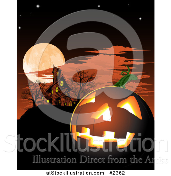 Vector Illustration of a Halloween Jackolantern and Haunted House Under a Full Moon