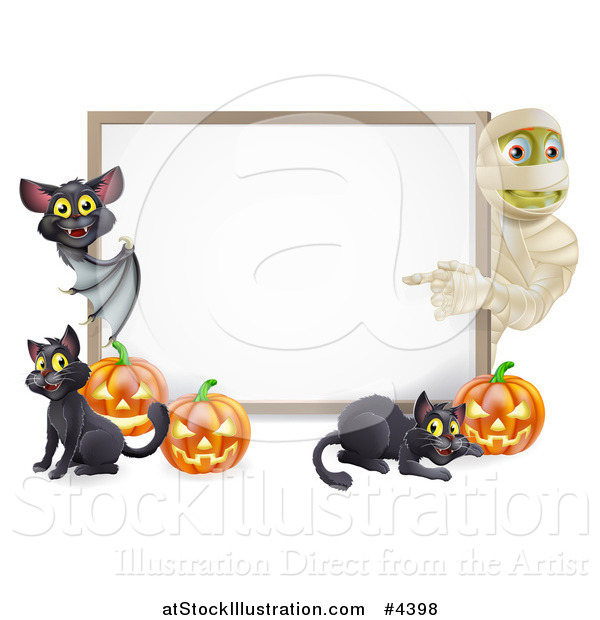 Vector Illustration of a Halloween Mummy and Bat Pointing to a White Board Sign with Pumpkins and Black Cats