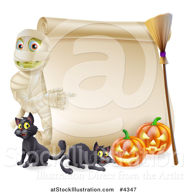 Vector Illustration of a Halloween Mummy Pointing to a Scroll Sign with Pumpkins Black Cats and a Broomstick