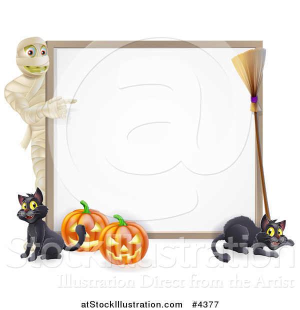 Vector Illustration of a Halloween Mummy Pointing to a White Board Sign with Pumpkins Black Cats and a Broomstick