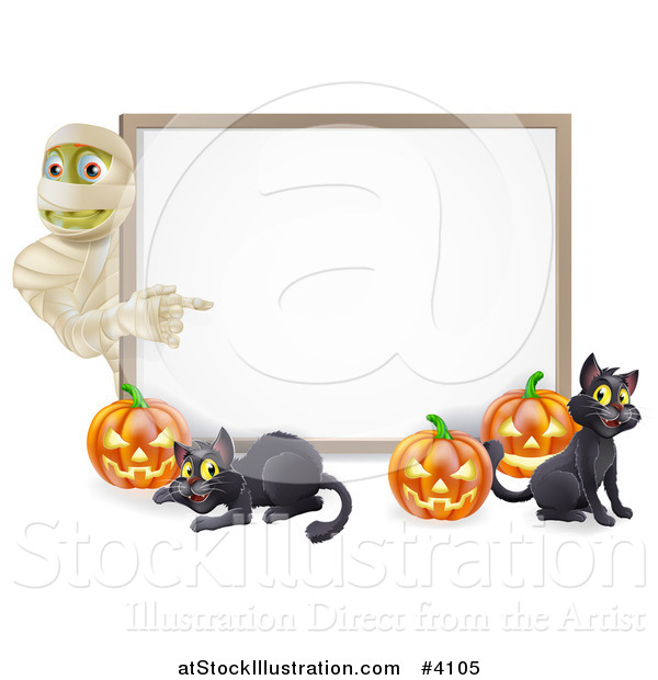 Vector Illustration of a Halloween Mummy Pumpkins and Black Cats Around a White Sign