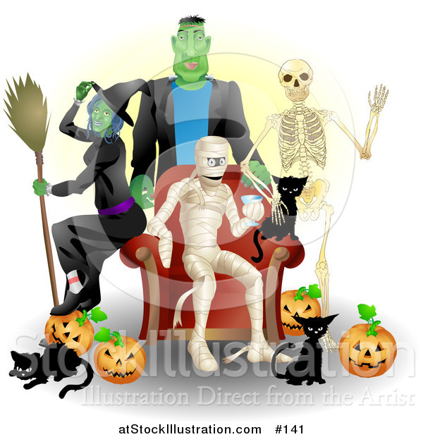 Vector Illustration of a Halloween Witch, Frankenstein, Skeleton, Mummy, Black Cats and Pumpkins at a Party