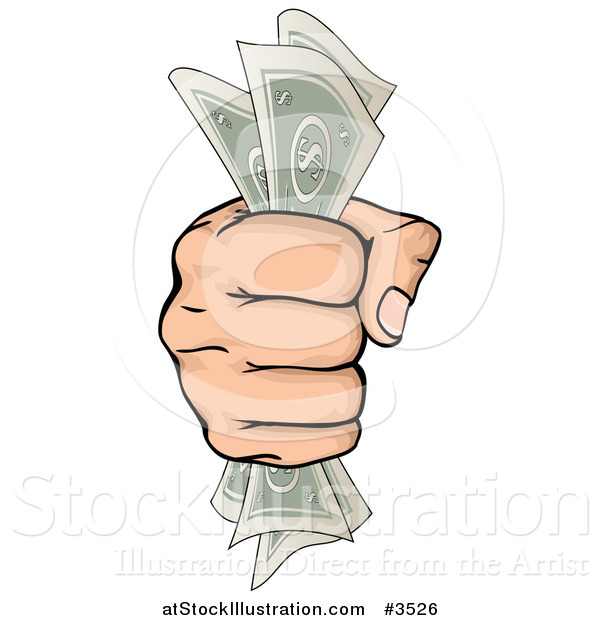 Vector Illustration of a Hand Clenching Cash Money in a Fist