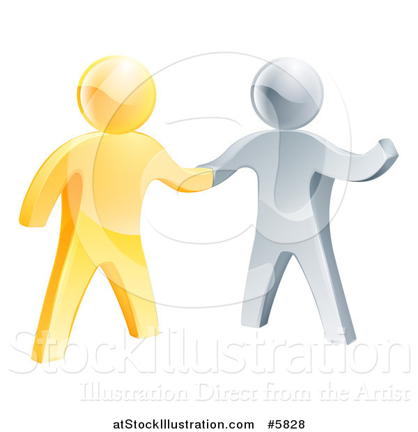 Vector Illustration of a Handshake Between 3d Gold and Silver Men, with One Guy Gesturing