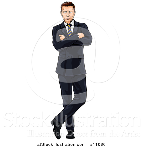 Vector Illustration of a Handsome and Confident Caucasian Businessman Standing with Folded Arms and One Ankle over the Other