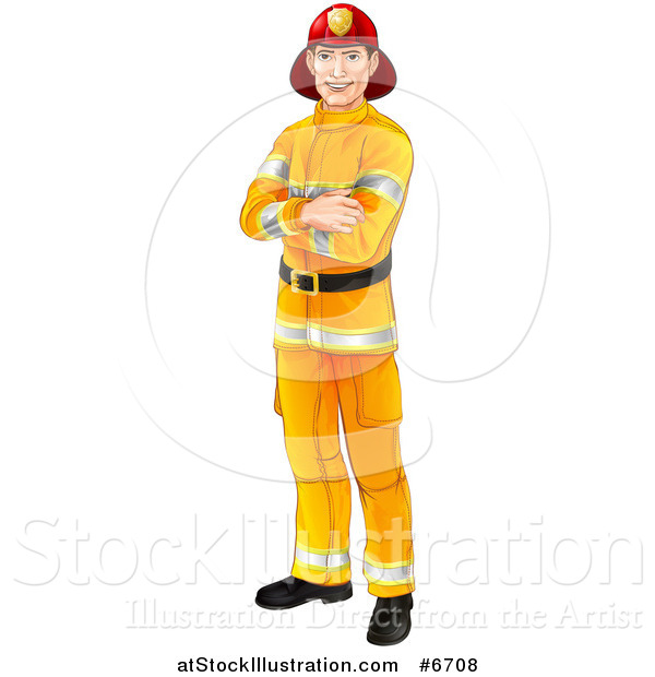 Vector Illustration of a Handsome Caucasian Male Fireman Standing with Folded Arms