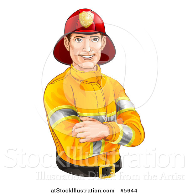 Vector Illustration of a Handsome Caucasian Male Fireman with Folded Arms