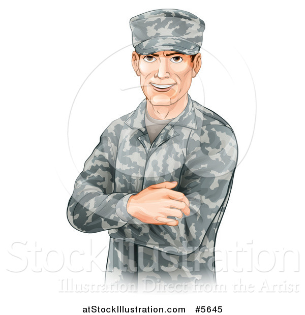 Vector Illustration of a Handsome Caucasian Male Soldier with Folded Arms