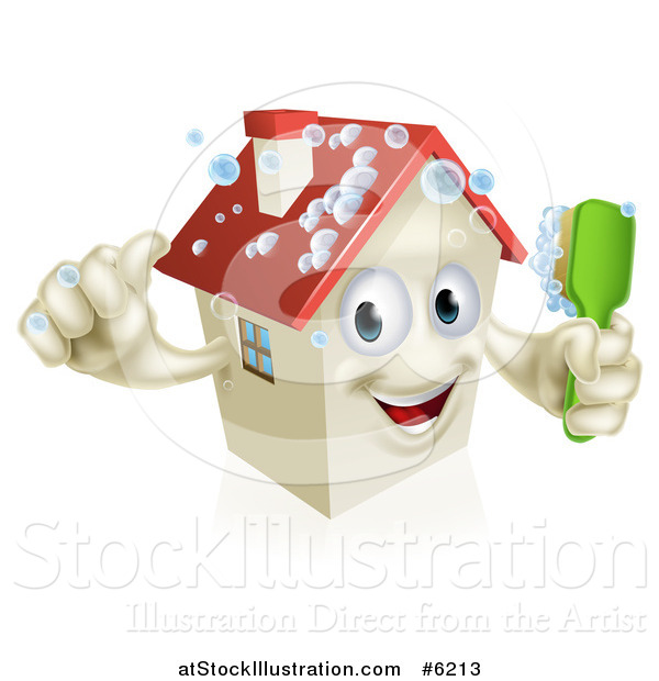 Vector Illustration of a Happy 3d House Character Giving a Thumb up and Cleaning Itself with a Brush