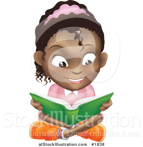 Vector Illustration of a Happy African American Girl Reading a Book and Sitting on the Floor