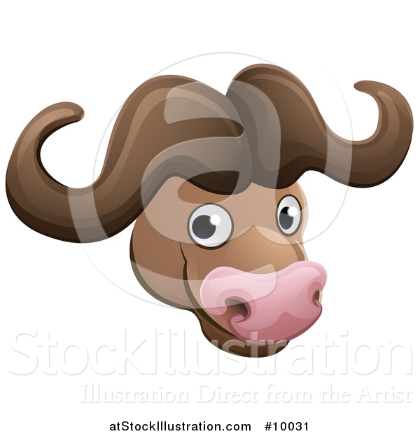 Vector Illustration of a Happy African Safari Cape Buffalo Face Avatar