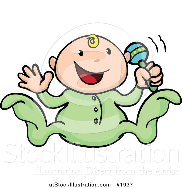 Vector Illustration of a Happy Baby Playing with a Rattle